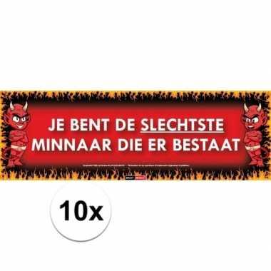 10x sticky devil stickers tekst slechtste minaar