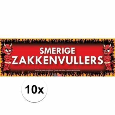 10x sticky devil stickers tekst smerige zakkenvullers