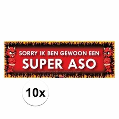 10x sticky devil stickers tekst sorry ik ben gewoon een super aso