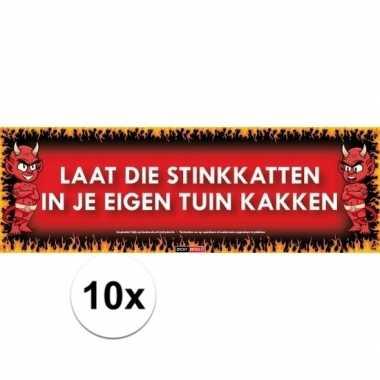 10x sticky devil stickers tekst stinkkatten