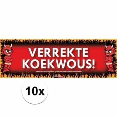 10x sticky devil stickers tekst verrekte koekwous!