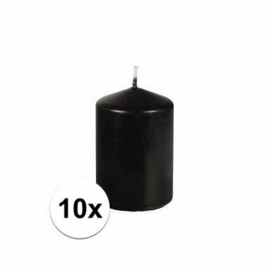 10x stompkaarsen zwart 10 cm hoog