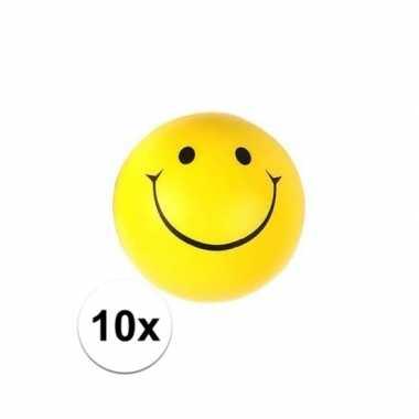 10x stressballetje gele smiley