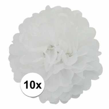 10x stuks decoratie pompom wit 25 cm
