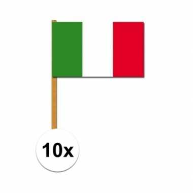 10x stuks italiaanse zwaaivlaggen