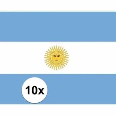 10x stuks stickers van de argentijnse vlag