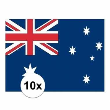 10x stuks stickers van de australische vlag