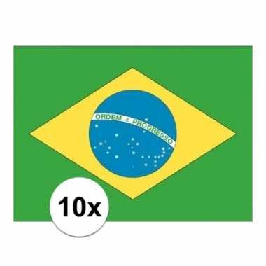 10x stuks stickers van de braziliaanse vlag