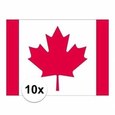 10x stuks stickers van de canadese vlag