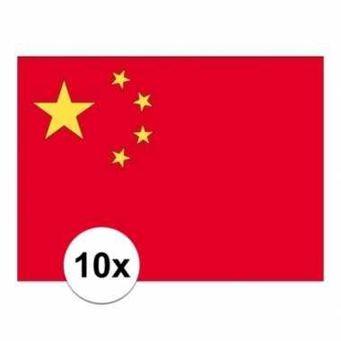 10x stuks stickers van de chinese vlag