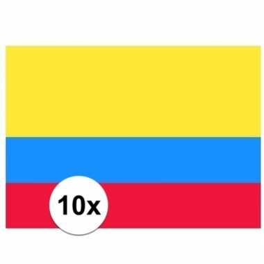 10x stuks stickers van de colombiaanse vlag