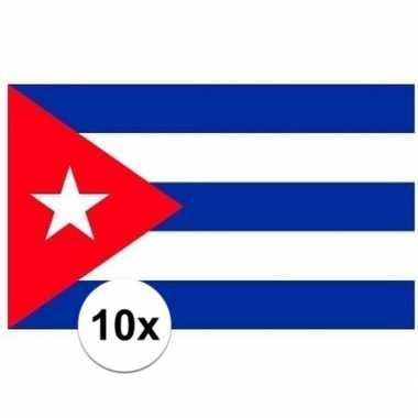 10x stuks stickers van de cubaanse vlag
