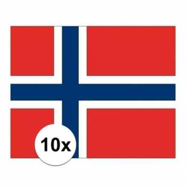 10x stuks stickers van de noorse vlag