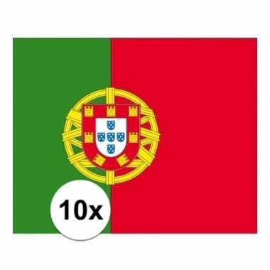 10x stuks stickers van de portugese vlag