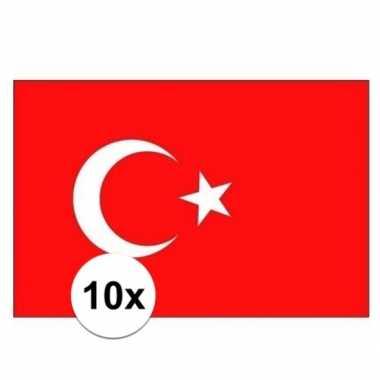 10x stuks stickers van de turkije vlag