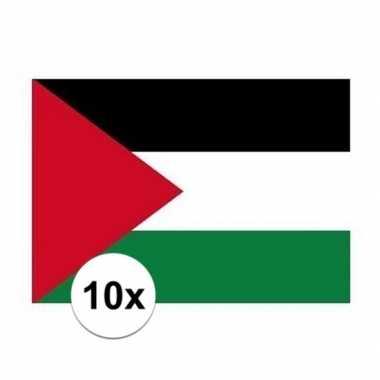 10x stuks stickers van de vlag van palestina