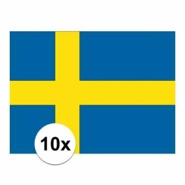 10x stuks stickers van de zweedse vlag