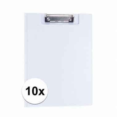 10x stuks witte klemborden voor a4 papier
