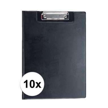10x stuks zwarte klemborden voor a4 papier