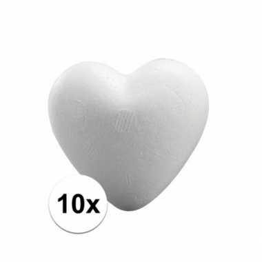 10x styrofoam hartjes van 5 cm