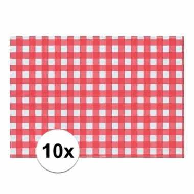 10x tafelmatje rood/wit geblokt 43 x 30 cm
