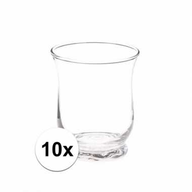 10x theelichthouders transparant 11 cm