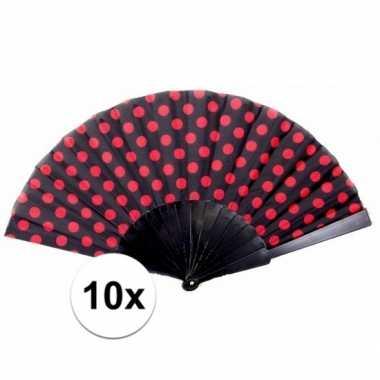 10x traditionele handwaaiers zwart / rood