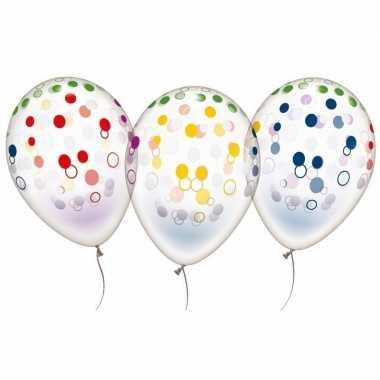 10x transparante ballonnen gekleurd stippen
