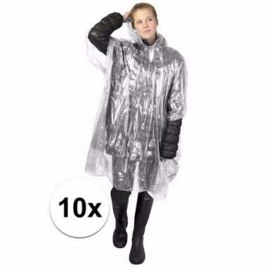 10x transparante regen ponchos voor volwassenen