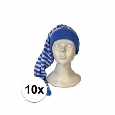 10x verkleed slaapmutsen wit-blauw