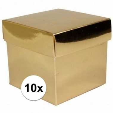 10x vierkante gouden kadootjes/cadeautjes 10 cm