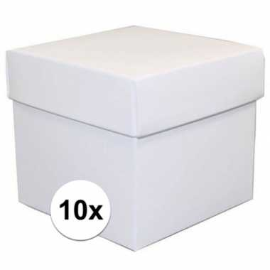 10x vierkante witte kadootjes/cadeautjes 10 cm