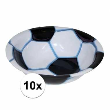 10x voetbal chips bakje 17,5 cm