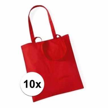 10x voordelig rode katoenen draagtasje 10 liter