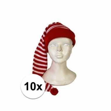 10x voordelige rood met witte feest slaapmutsen