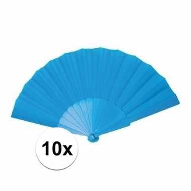 10x voordelige waaier turquoise 23 cm