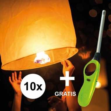 10x wensballon 50 x 100 cm incl gratis aansteker