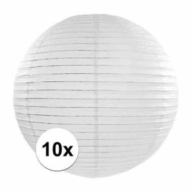 10x witte bol lampionnen van 35 cm