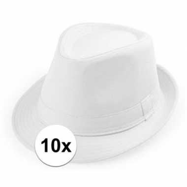 10x witte trilby hoedjes voor volwassenen