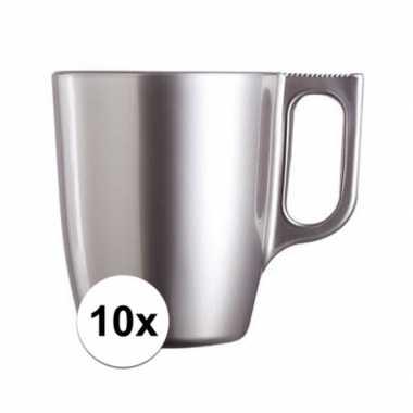 10x zilveren koffiemok/theemok 250 ml