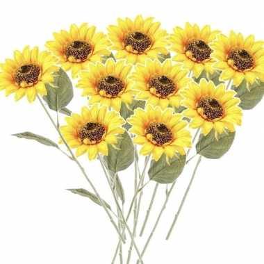 10x zonnebloem kunstbloem geel 62 cm