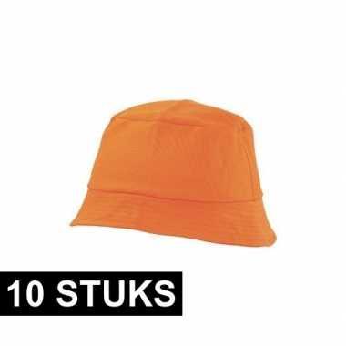 10x zonnehoedje oranje 57-58 cm