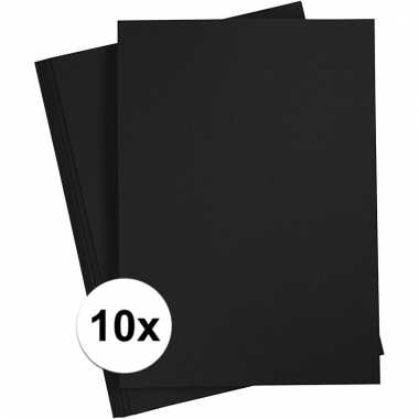 10x zwart knutsel karton a4