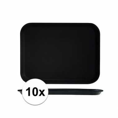 10x zwarte dienbladen met anti slip