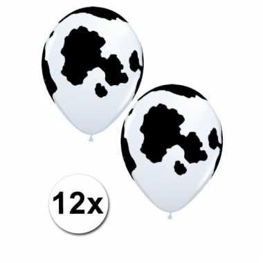 12 ballonnen met vlekken van koe 28 cm
