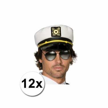 12 kapiteinspetjes wit voor volwassenen