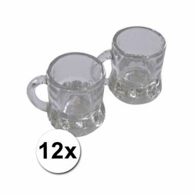 12 mini bierglazen met handvat 2cl
