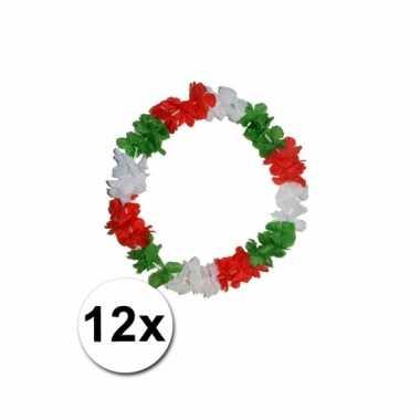 12 vrolijke hawaii kransen 3 kleuren