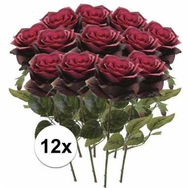 12 x donker rode roos simone 45 cm kunstplant steelbloem