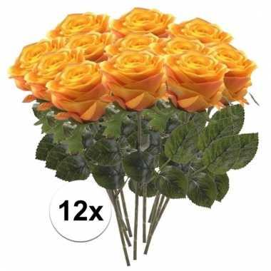 12 x geel/oranje roos simone 45 cm kunstplant steelbloem
